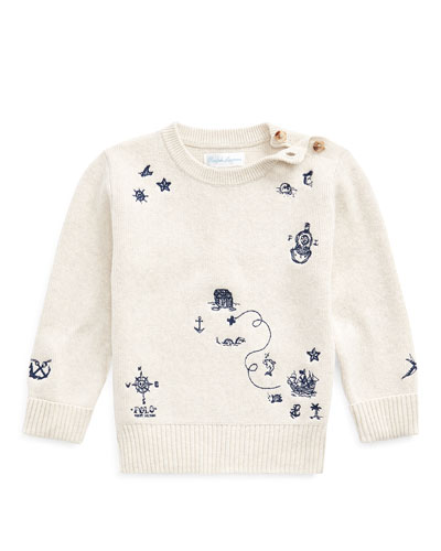 Boy's Nautical Embroidered Sweater  Size 6-24 Months