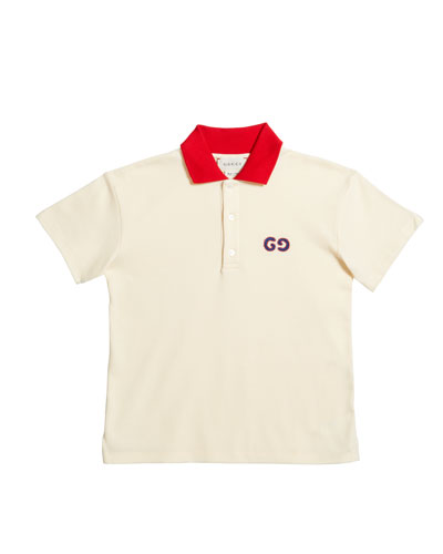 Boy's Cotton Piquet Polo Shirt w/ GG Embroidery  Size 12-36 Months