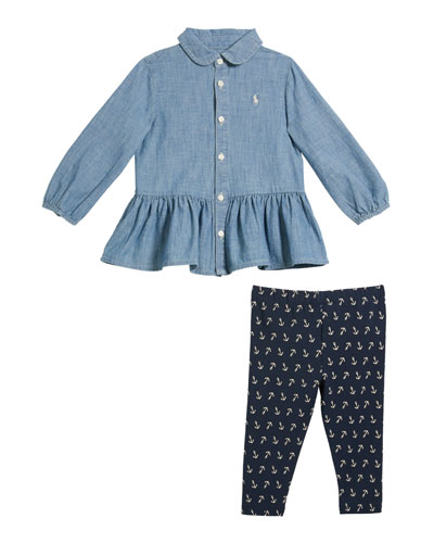Girl's Chambray Peplum Top w/ Anchor Print Leggings  Size 6-24 Months