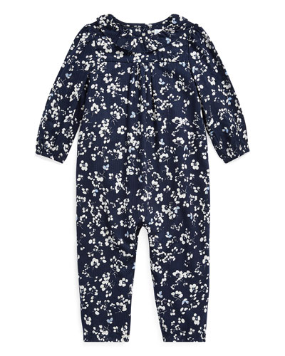 Girl's Floral Print Ruffle-Collar Coverall  Size 6-24 Months