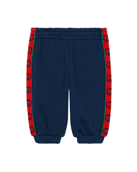 Boy's Fleece Jogger Pants with GG Side-Tape, Size 12-36 Months