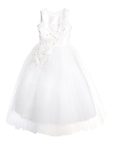 Girl's Bella Tulle 3D Applique Dress  Size 6-12