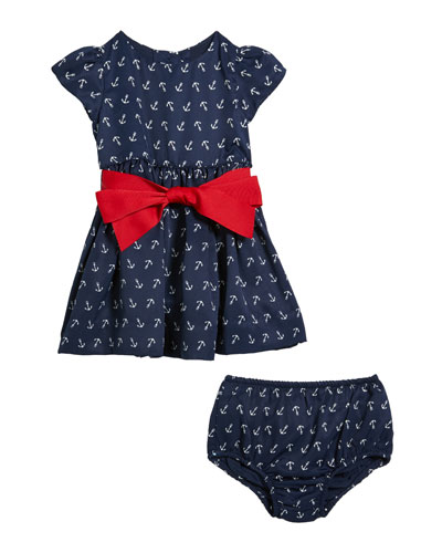 Girl's Anchor Print Dress w/ Matching Bloomers  Size 6-24 Months