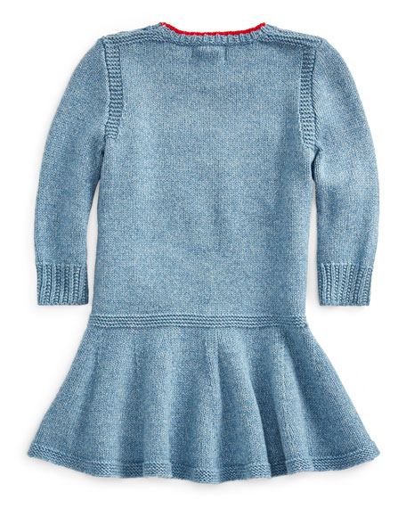 Girl's Flag Intarsia Long-Sleeve Dress, Size 3-24 Months