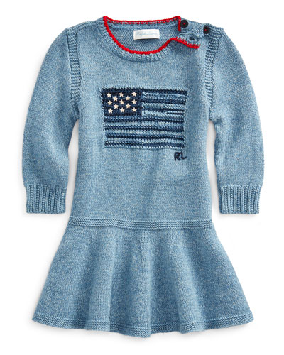 Girl's Flag Intarsia Long-Sleeve Dress  Size 3-24 Months