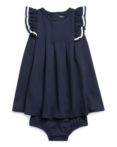 Girl's Nautical Ponte Knit Dress w/ Matching Bloomers  Size 6-24 Months