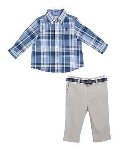 Boy's Plaid Button-Down Shirt w/ Twill Pants & D-Ring Belt  Size 6-24 Months