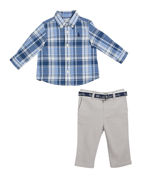 Boy's Plaid Button-Down Shirt w/ Twill Pants & D-Ring Belt, Size 6-24 Months