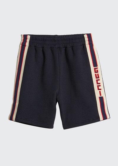 Boy's Logo Stripe Shorts, Size 12-36 Months