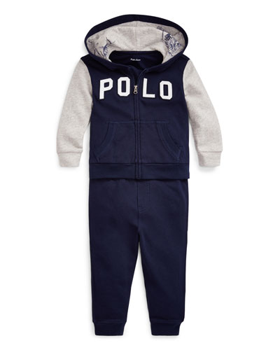 Boy's Polo Zip-Up Hooded Jacket w/ Matching Jogger Pants  Size 6-24 Months