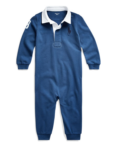 Boy's Heathered Rugby Compass Coverall  Size 6-24 Months