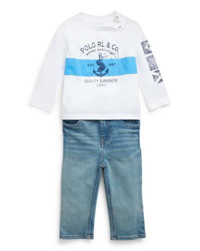 Boy's Long-Sleeve Logo Anchor Print Tee w/ Faded Denim Jeans  Size 6-24 Months