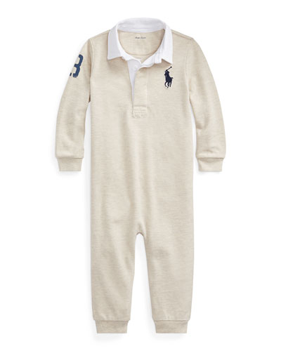 Boy's Heathered Rugby Coverall  Size 6-24 Months