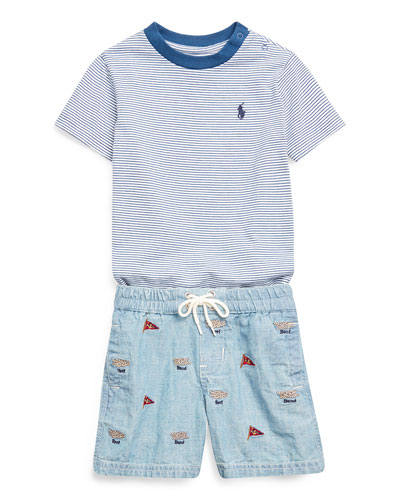 Boy's Striped Short-Sleeve Tee w/ Natural Embroidered Chambray Shorts  Size 6-24 Months