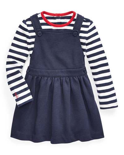 Girl's French Terry Overall Dress w/ Long-Sleeve Stripe Tee  Size 6-24 Months