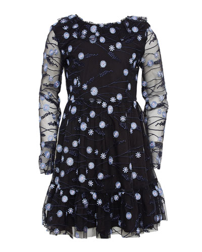 Girl's Candice Mesh Floral Embroidered Dress  Size 7-16