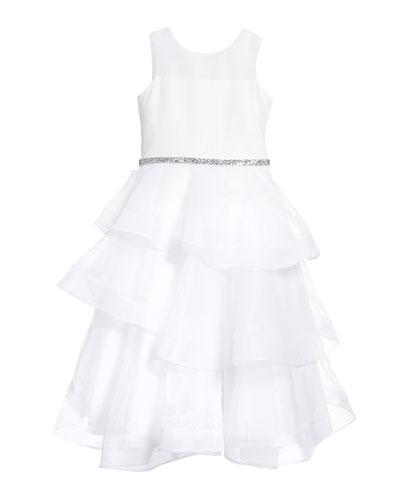 Girl's Ella Organza Tiered Dress  Size 7-12