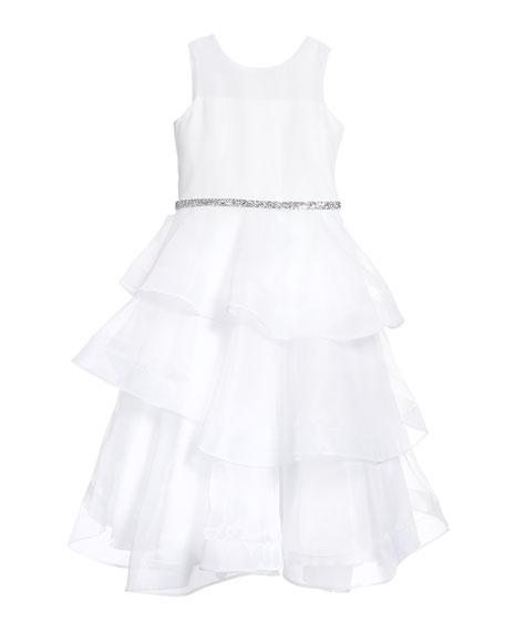 Girl's Ella Organza Tiered Dress, Size 7-12