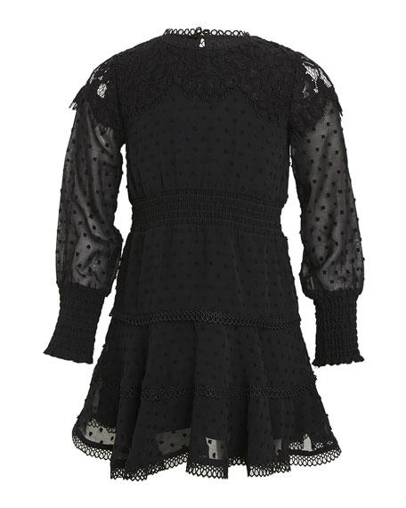 Girl's Liana Swiss Dot Lace Mini Dress, Size 7-16