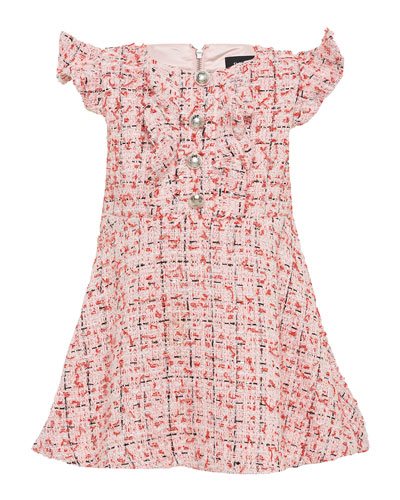 Girl's Lizzie Boucle Flutter Sleeve Dress  Size 7-16