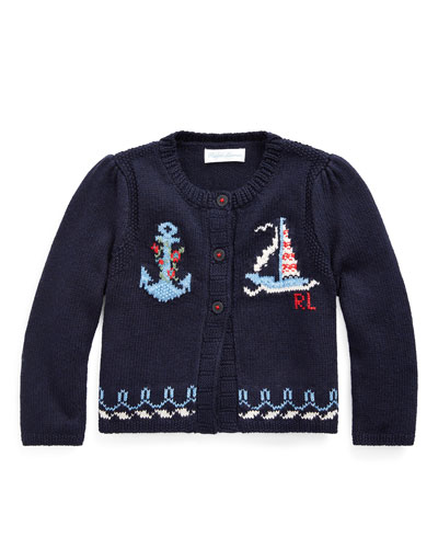 Girl's Nautical Intarsia Knit Cardigan  Size 6-24 Months
