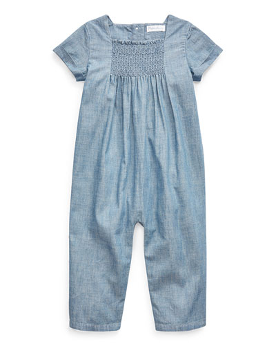 Girl's Chambray Smocked Romper  Size 3-9 Months