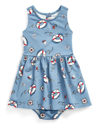 Girl's Nautical Print Sleeveless Dress w/ Matching Bloomers  Size 6-24 Months