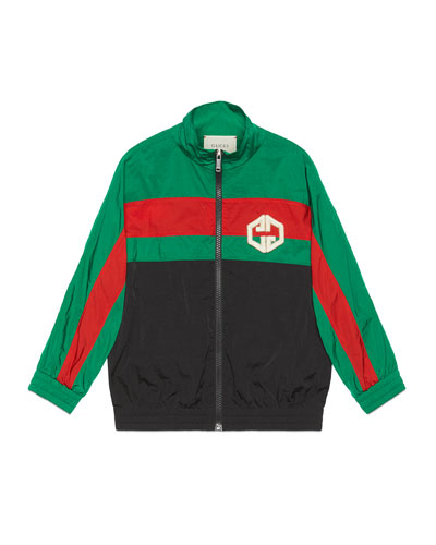 Boy's Colorblock Zip-Front Embroidered Nylon Jacket  Size 4-12