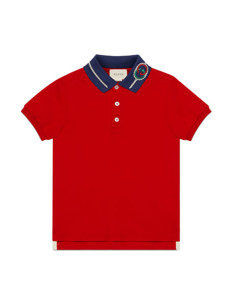 Boy's Contrast Collar Polo Shirt with GG Embroidery, Size 4-12