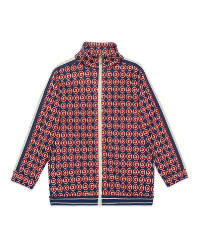 Boy's Allover G Print Zip-Front Cardigan  Size 4-12