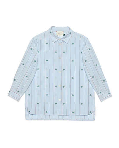 Boy's Striped Bee Fil Coupe Button-Down Shirt  Size 4-12