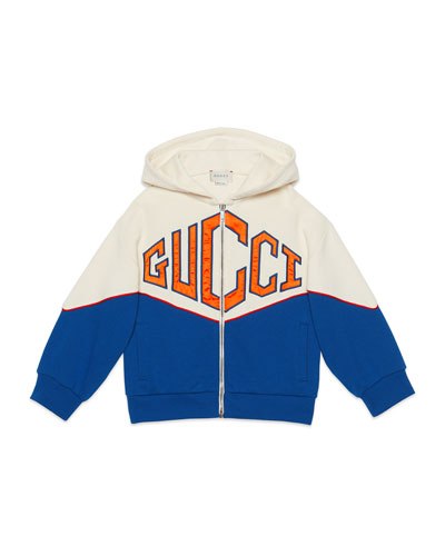 Big Logo Bicolor Zip-Front Hooded Fleece Jacket  Size 4-12
