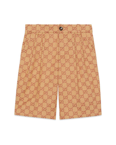 Boy's Allover GG Canvas Jacquard Shorts  Size 4-12