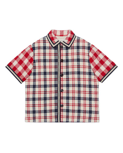 Boy's Mixed Check Short-Sleeve Button-Front Jacket  Size 4-10