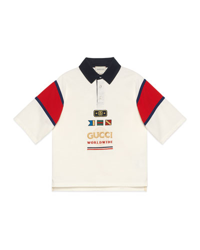 Boy's Rugby Polo Shirt w/ Embroidered Sailing Flags  Size 4-12