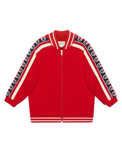 Boy's Zip-Front Sweatshirt with GG Trim  Size 4-12