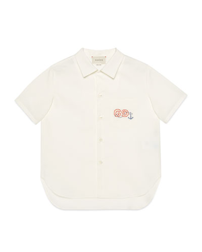 Boy's Collared Poplin Shirt with Embroidery  Size 4-12