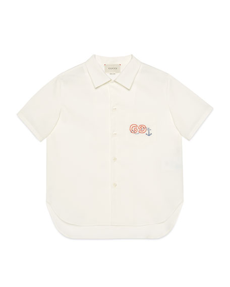 Boy's Collared Poplin Shirt with Embroidery, Size 4-12