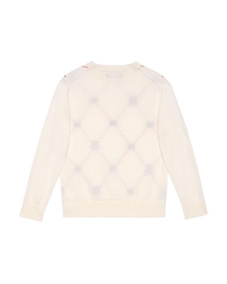 Boy's Argyle Interlocking G & Bee Jacquard Sweater, Size 4-12