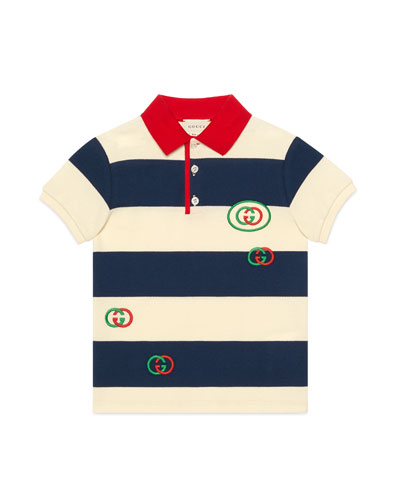 Boy's Striped Polo Shirt with Interlocking G Patch, Size 4-12
