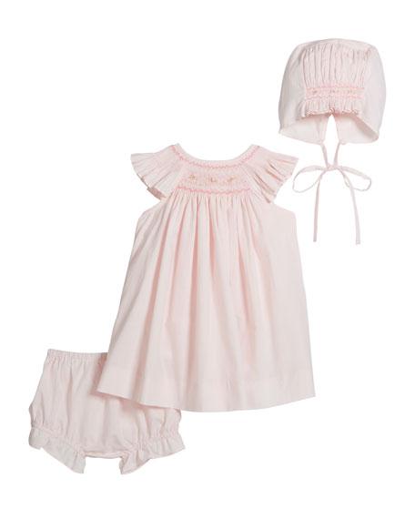 Girl's Smocked Bishop Dress w/ Bonnet & Bloomers, Size Newborn-9 Months