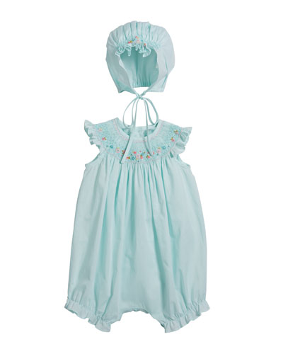 Smocked Bubble Romper with Bonnet  Size 6-18 Months