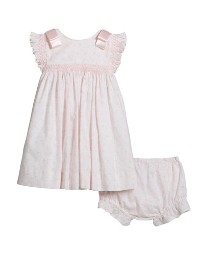 Girl's Butterfly Print Smocked Dress  Size 3-18 Months