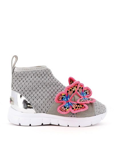 Riva Knit Mid-Top Sneakers w/ 3D Butterfly Details  Baby/Toddler/Kids