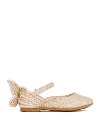 Chiara Fine Glitter Butterfly Mary Jane Flats  Baby/Toddler