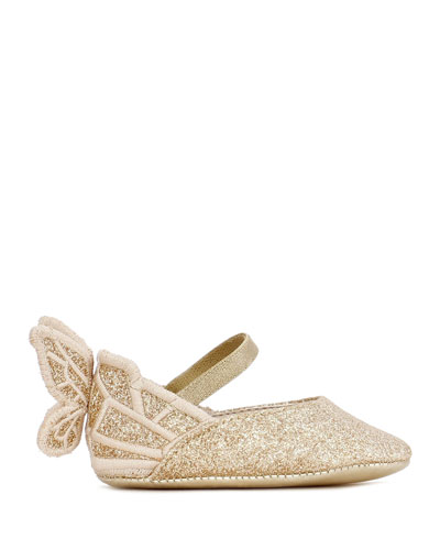 Chiara Glitter Embroidered Butterfly-Wing Flats  Baby