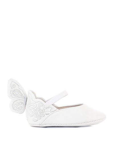 Chiara Tonal Embroidered Leather Butterfly-Wing Flats  Baby