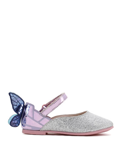 Chiara Fine Glitter Mirrored Butterfly Mary Jane Flats  Baby/Toddler