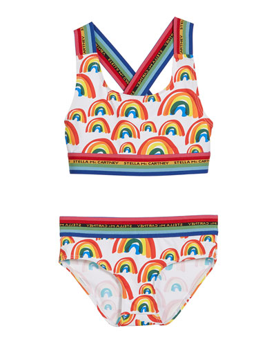 Girl's Rainbow Printed Two-Piece Bikini Set  Size 4-14