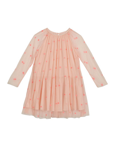 Girl's Embroidered Hearts Long-Sleeve Tulle Dress  Size 4-14